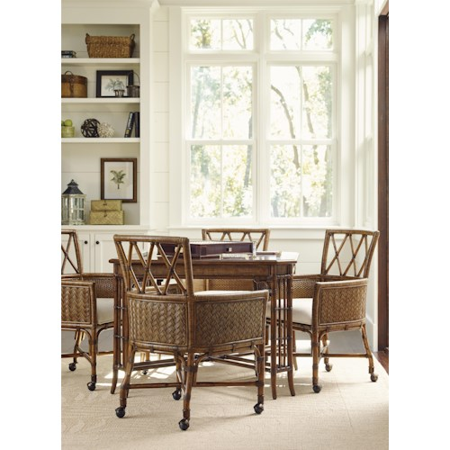 Tommy Bahama Dining Room Furniture: Tommy Bahama Home Bali Hai Tropical 5 Piece Game Table Set