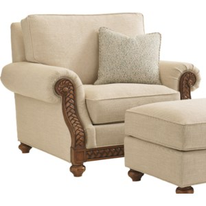 Tommy Bahama Home Bali Hai 111498134 Quickship Shoreline Chair With Fern Leaf Carvings Baer S Furniture Upholstered Chairs