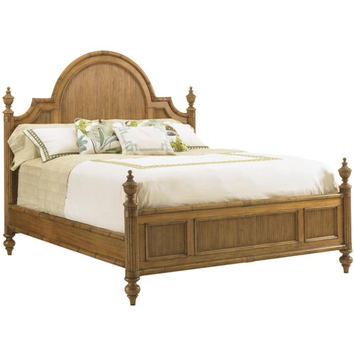 Tommy Bahama Home Beach House Queen-Size Belle Isle Headboard & Footboard Bed with Bamboo Accents