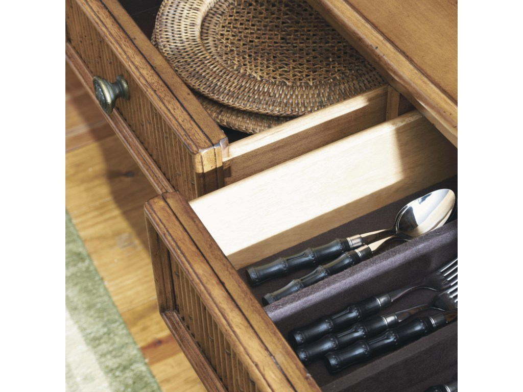 Felt-Lined Drawers with a Silverware Divider in the Center Drawer
