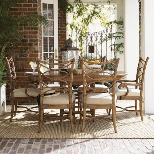 Tommy Bahama Home Beach House Seven-Piece Coconut Grove Round Dining Table with Sanibel Bent Rattan Chairs Set