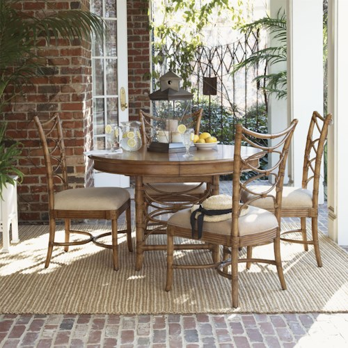 Tommy Bahama Home Beach House Five-Piece Coconut Grove Round Dining Table & Sanibel Bent Rattan Side Chairs Set
