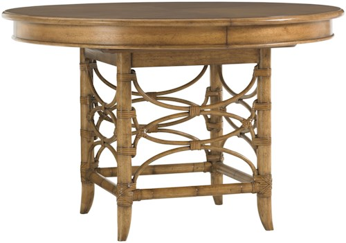 Tommy Bahama Home Beach House Round Coconut Grove Dining Table with Bent Rattan Accents & Expansion Leaf