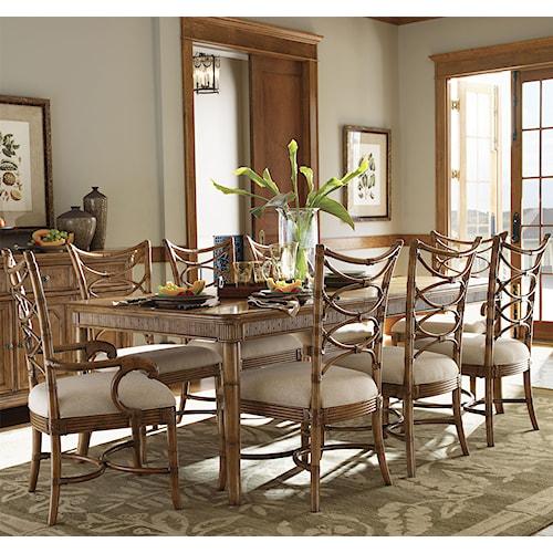 Tommy Bahama Home Beach House Nine-Piece Boca Grande Rectangular Leg Table & Sanibel Bent Rattan Chairs Set