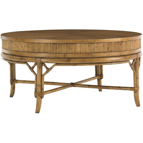 Tommy Bahama Home Beach House Oyster Cove Round Cocktail Table with Bamboo & Rattan Accents