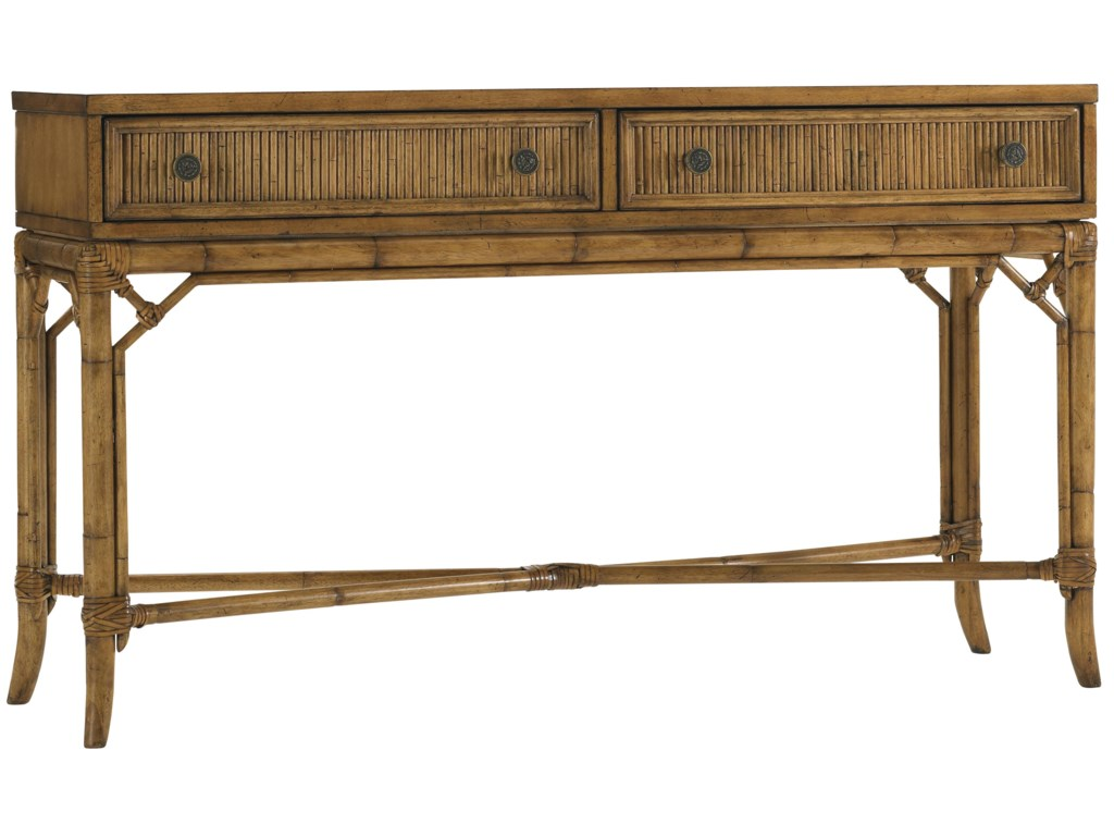 Tommy bahama home beach house two drawer palm coast sofa table tommy bahama home beach house two drawer palm coast sofa table with rattan bamboo accents baers furniture sofa tablesconsoles geotapseo Image collections