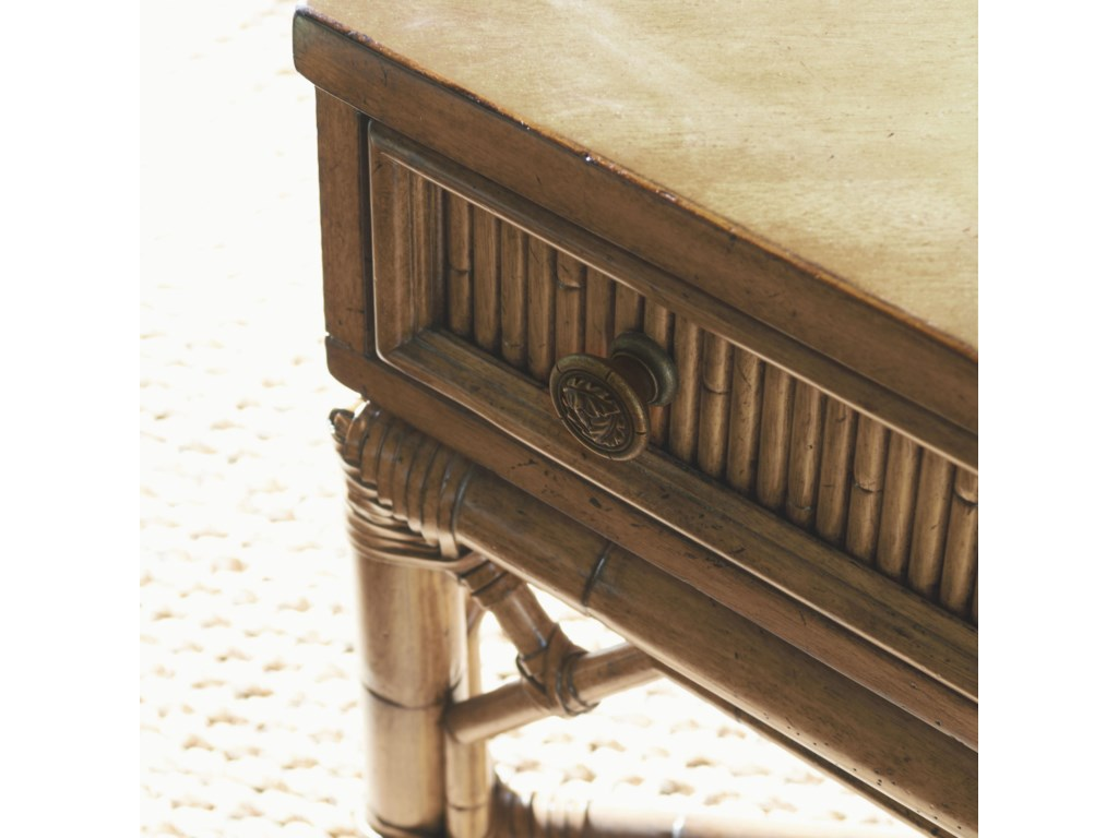 Reeded Bamboo, Bent Rattan, and Leather Wrappings Add Stunning Detail to the Palm Coast Sofa Table