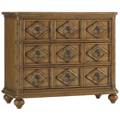 Tommy Bahama Home Beach House Three-Drawer Tarpon Springs Hall Chest with Diamon Motif & Bamboo Inlays