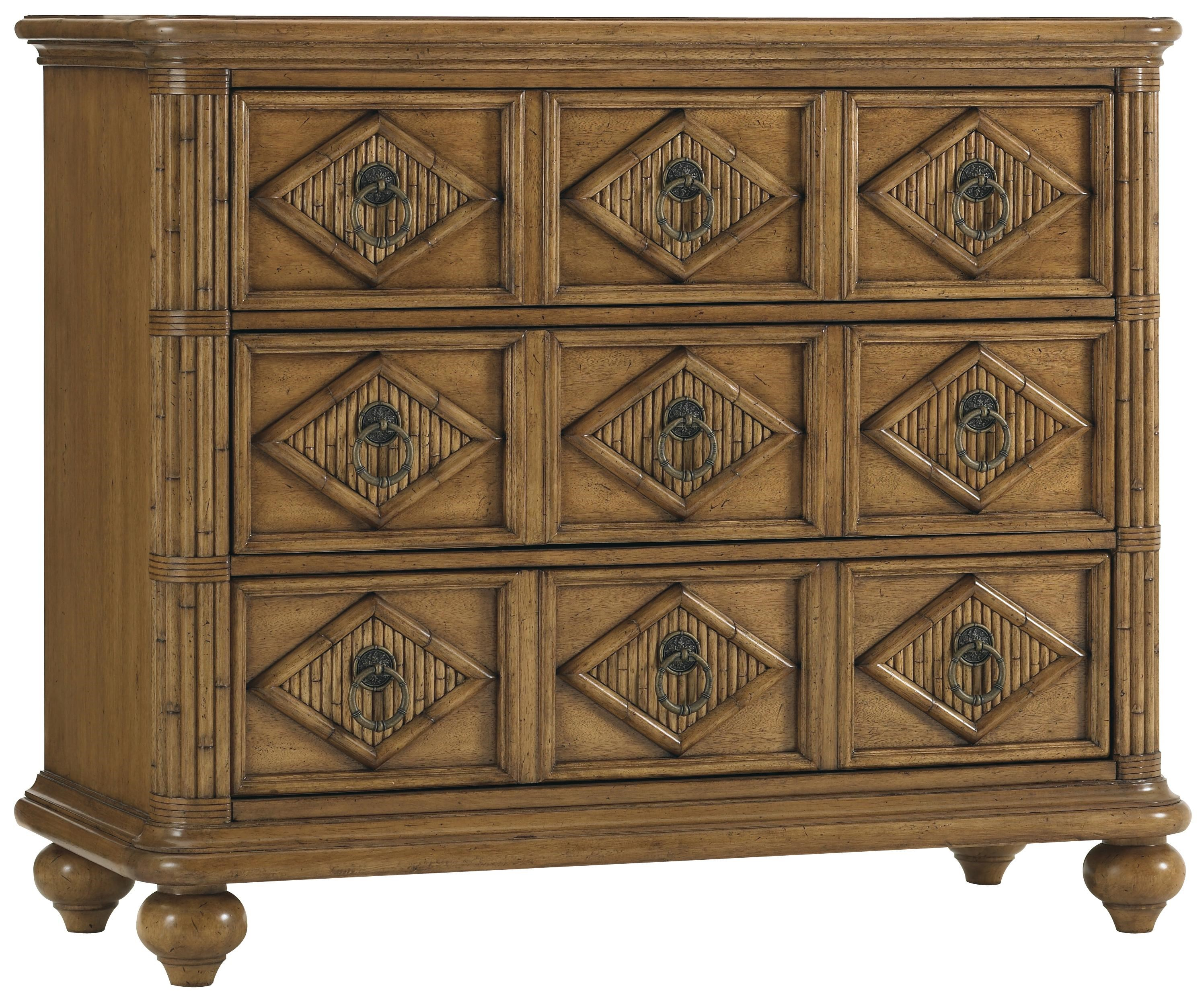 Tommy Bahama Home Beach House Three Drawer Tarpon Springs Hall Chest With  Diamon Motif U0026 Bamboo Inlays   Becker Furniture World   Accent Chests