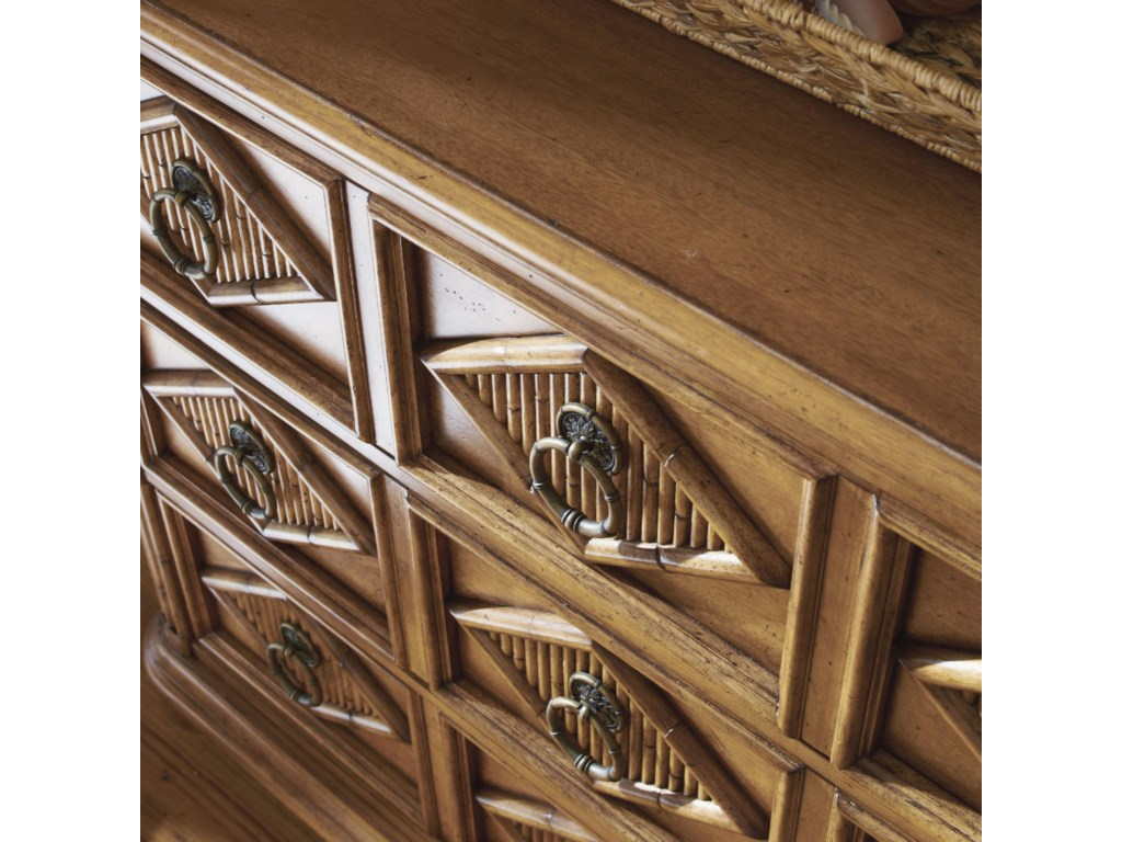 Diamond Motif Drawer Fronts with Reeded Bamboo Insets and Custom Ring Pulls