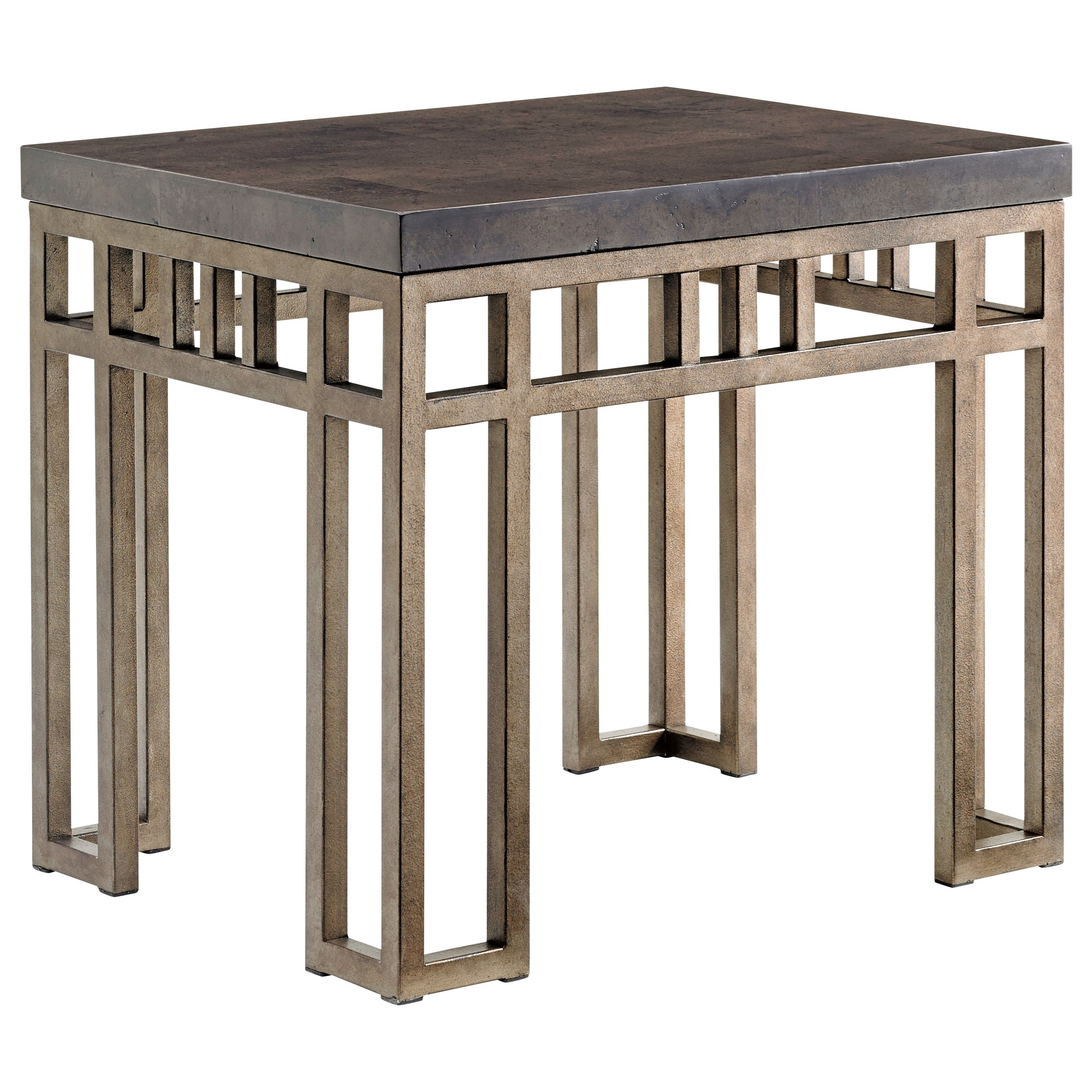 Nice Tommy Bahama Home Cypress Point Montera Travertine End Table With Metal Base