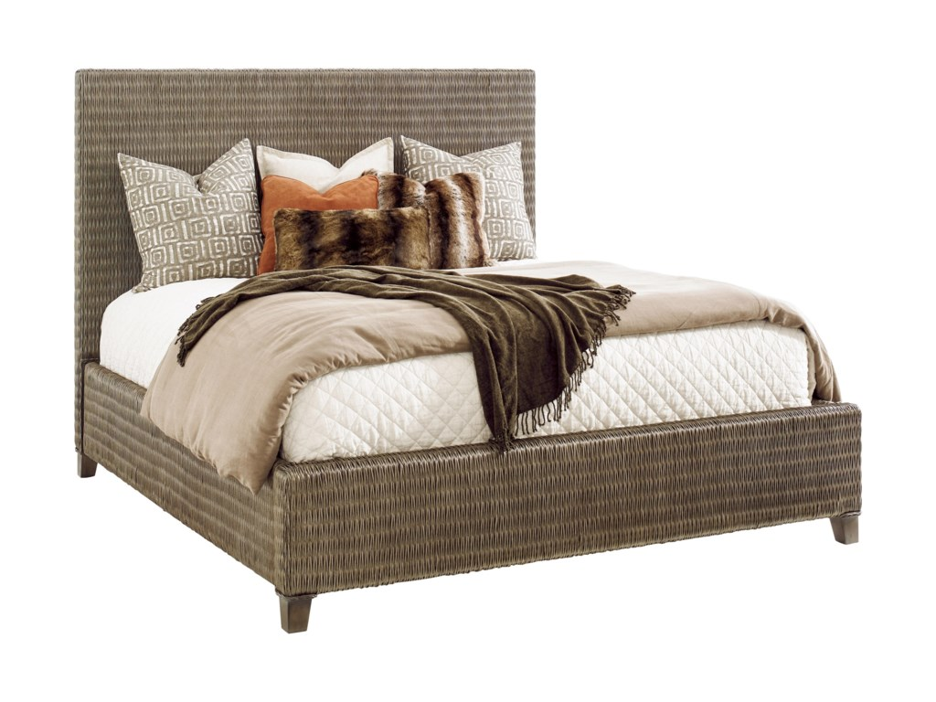 Tommy Bahama Home Cypress PointDriftwood Isle Woven Platform Bed 6/6 King