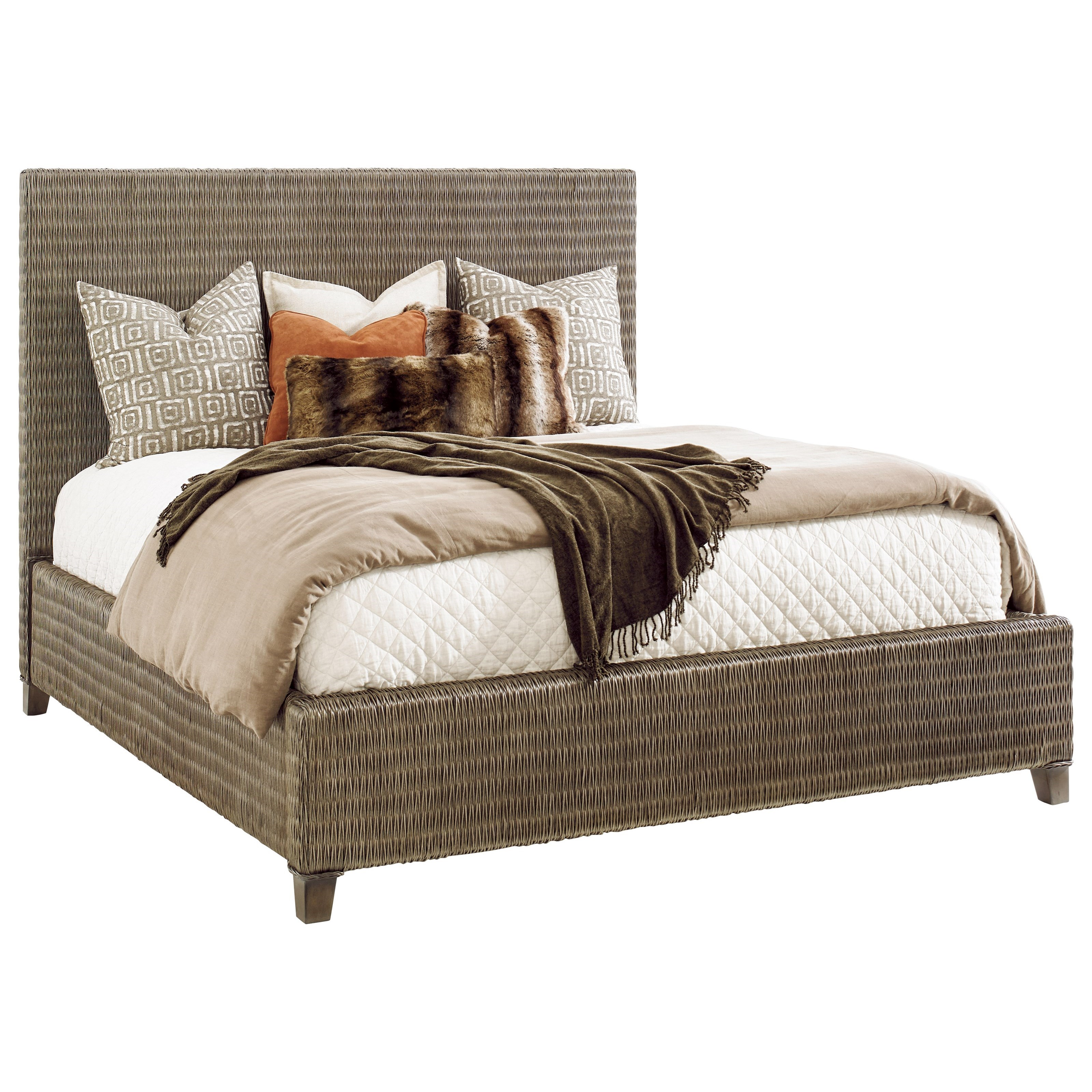 Tommy Bahama Home Cypress Point Driftwood Isle Woven Wicker Platform Bed California King Size Howell Furniture Platform Beds Low Profile Beds