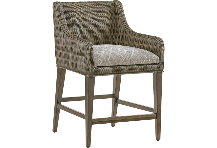 White Modern Desk Chair, Tommy Bahama Home Cypress Point 562 895 Turner Woven Rattan Counter Stool With Custom Fabric Cushion Baer S Furniture Bar Stools
