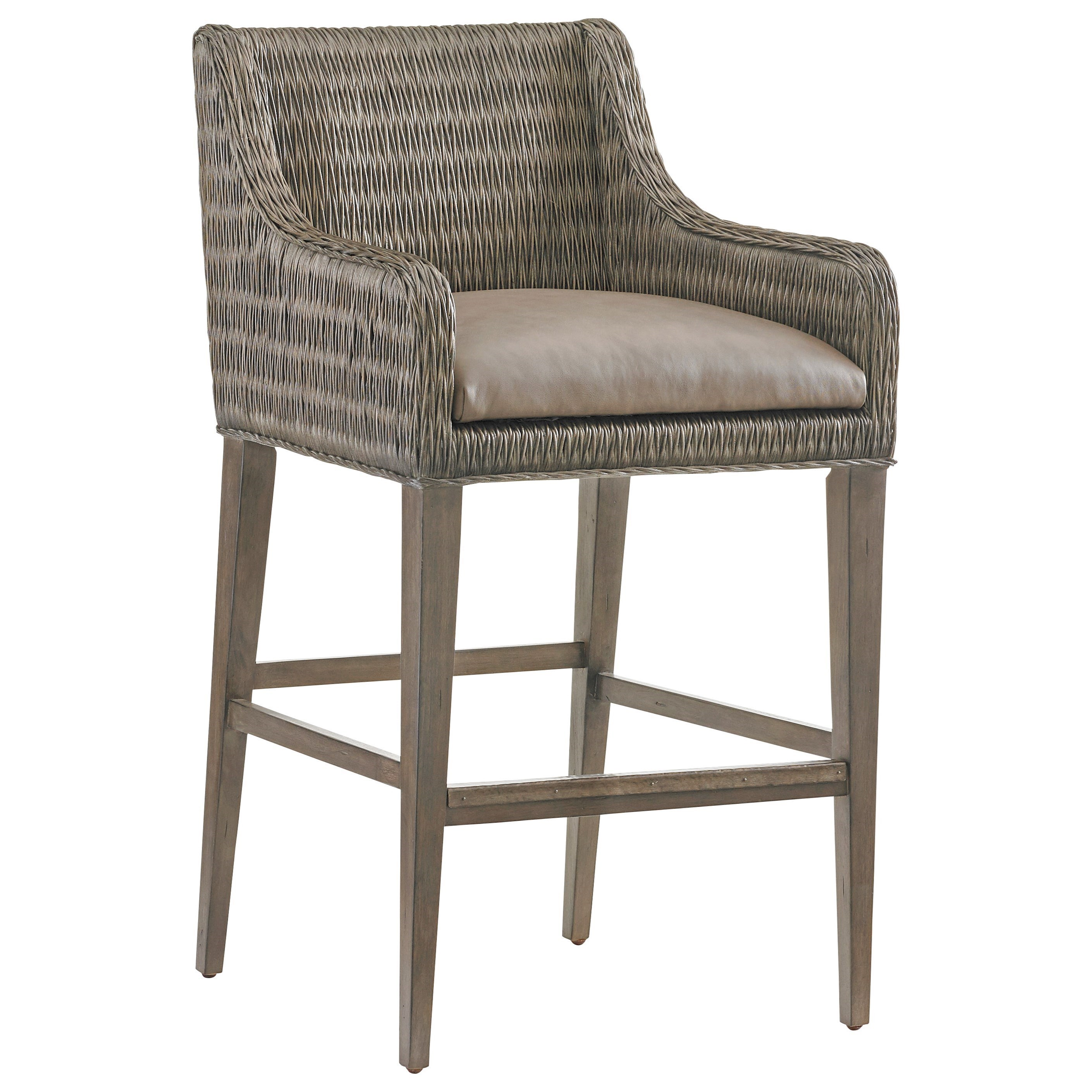 Tommy Bahama Home Cypress Point Turner Woven Rattan Bar Stool With Gray  Faux Leather Seat