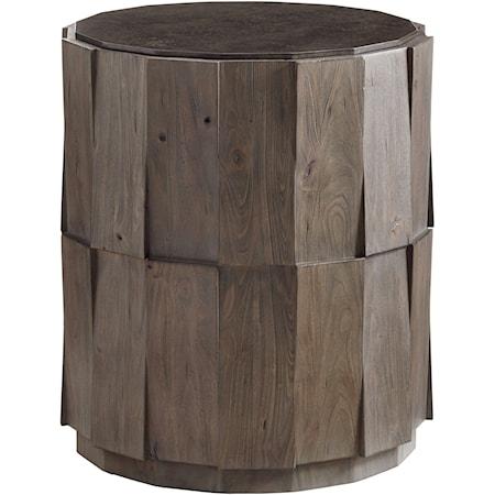 Everett Round Travertine End Table