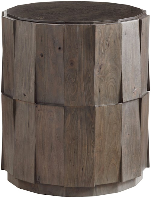 Tommy Bahama Home Cypress Point Everett Round Travertine End Table with Random Planked Elm Design