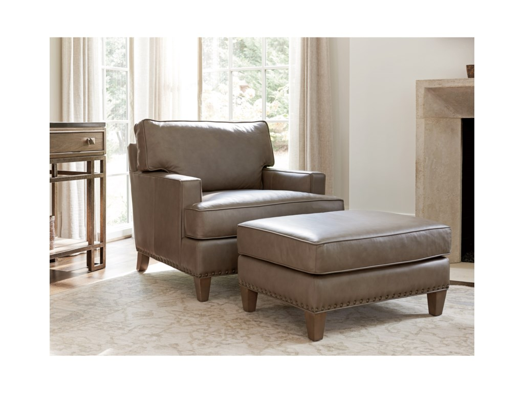 Tommy Bahama Home Cypress PointHughes Leather Ottoman