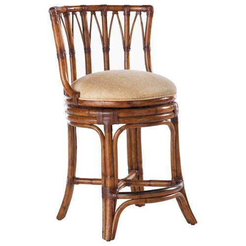 Tommy Bahama Home Island Estate Quickship South Beach Swivel Bar Stool with Seat Cushion in Macadamia Fabric