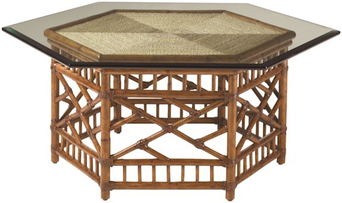 Tommy Bahama Home Island Estate  Key Largo Cocktail Table  With Glass Top