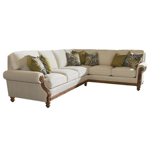 Tommy Bahama Home Island Estate West Shore RAF Corner Sectional Sofa with Tropical Accents