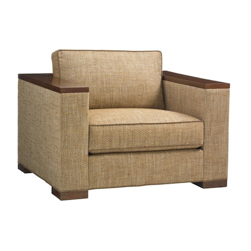 Tommy Bahama Home Island Fusion Fuji Modern Chair with Exposed Wood Ledge