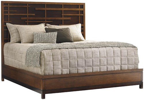 Tommy Bahama Home Island Fusion King-Sized Shanghai Panel Bed with Pan-Asian Fretwork