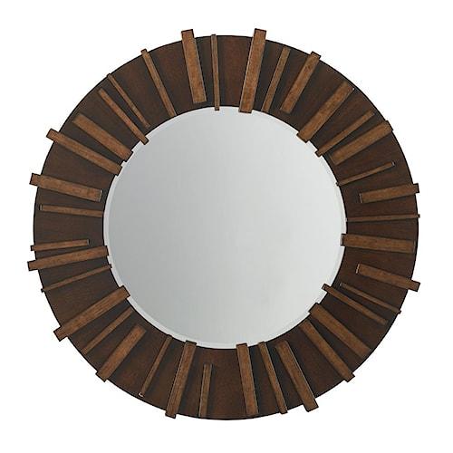 Tommy Bahama Home Island Fusion Kobe Round Mirror on Dark Hickory Frame