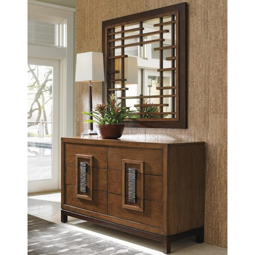 Tommy Bahama Home Island Fusion Tahara Asian-Inspired Dresser and Mikasa Fretwork Mirror Set
