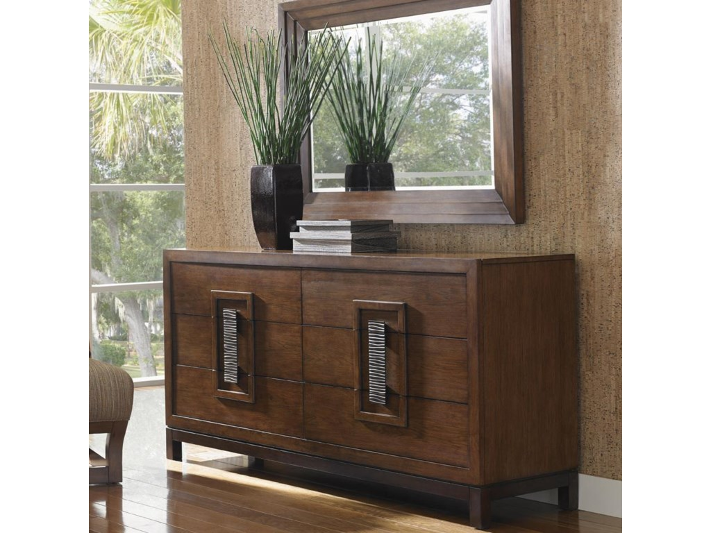 Tommy Bahama Home Island FusionHeron Island Dresser and Mirror Set