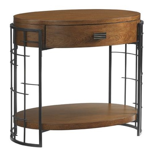 Tommy Bahama Home Island Fusion Sendai High / Low Adjustable Nightstand with Asian-Inspired Latticework