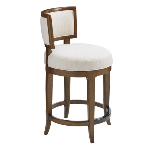 Tommy Bahama Home Island Fusion Macau Swivel Counter Stool in Ivory