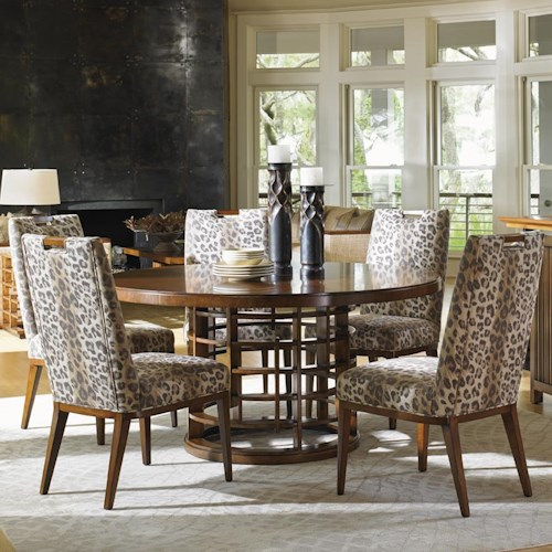 Tommy Bahama Home Island Fusion Meridien Dining Table and Customizable Coles Bay Side Chair Set