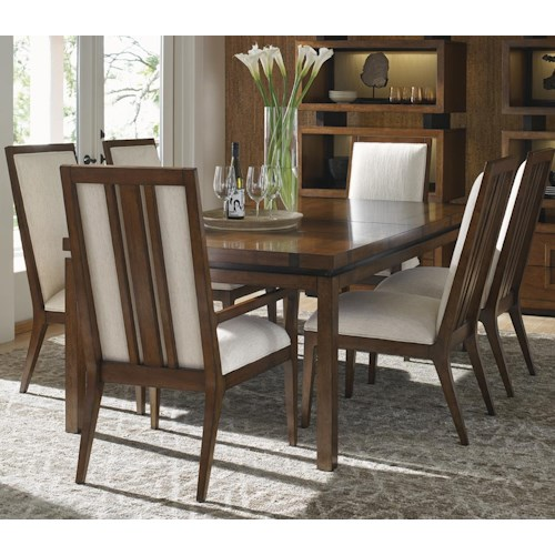 Tommy Bahama Home Island Fusion Seven Piece Dining Set with Natori Chairs