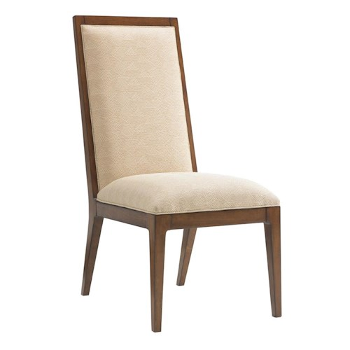 Tommy Bahama Home Island Fusion Natori Slat Back Side Chair in Cresting Waves Fabric