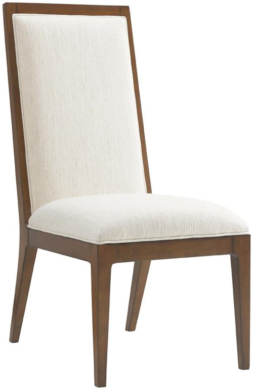 Tommy Bahama Home Island Fusion Natori Slat Back Side Chair in Ivory Fabric