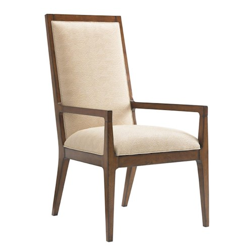 Tommy Bahama Home Island Fusion Natori Slat Back Arm Chair in Cresting Waves Fabric