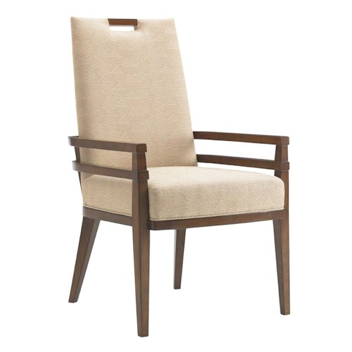 Tommy Bahama Home Island Fusion Coles Bay Arm Chair in Cresting Waves Fabric