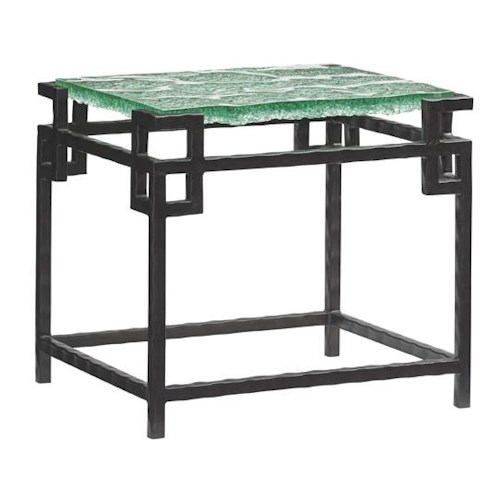 Tommy Bahama Home Island Fusion Hermes Reef Glass End Table with Metal Base