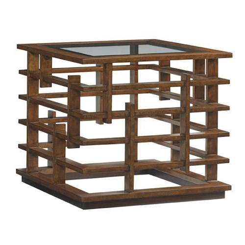 Tommy Bahama Home Island Fusion Nobu Asian-Inspired Square Lamp Table