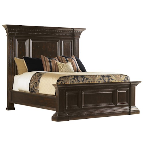 Tommy Bahama Home Island Traditions Queen Sutton Place Pediment Bed with Fluted Pilasters
