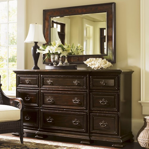 Tommy Bahama Home Island Traditions Bexley Dresser and Somerton Mirror Set