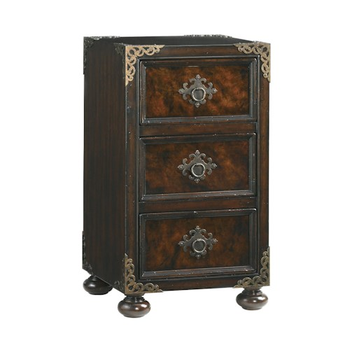 Tommy Bahama Home Island Traditions Traditional Gramercy Nightstand with Tortoise Shell Inlay and Decorative Corner Caps