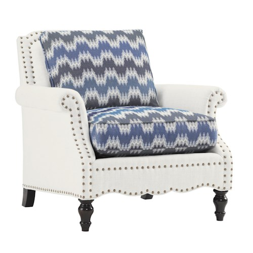 Tommy Bahama Home Island Traditions Traditional Belgrave Chair with Decorative Nailheads and Turned Wood Feet