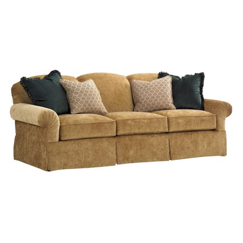 Tommy Bahama Home Island Traditions Chatham Camelback Sofa with English Arms and Skirted Base