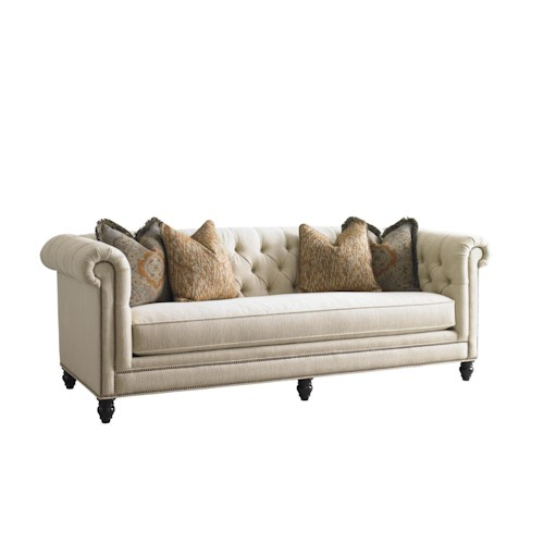 Tommy Bahama Home Island Traditions Manchester Chesterfield-Style Sofa with Button Tufting