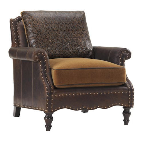 Tommy Bahama Home Island Traditions Belgrave Leather Chair with Brown Leather Upholstery and Decorative Nailheads