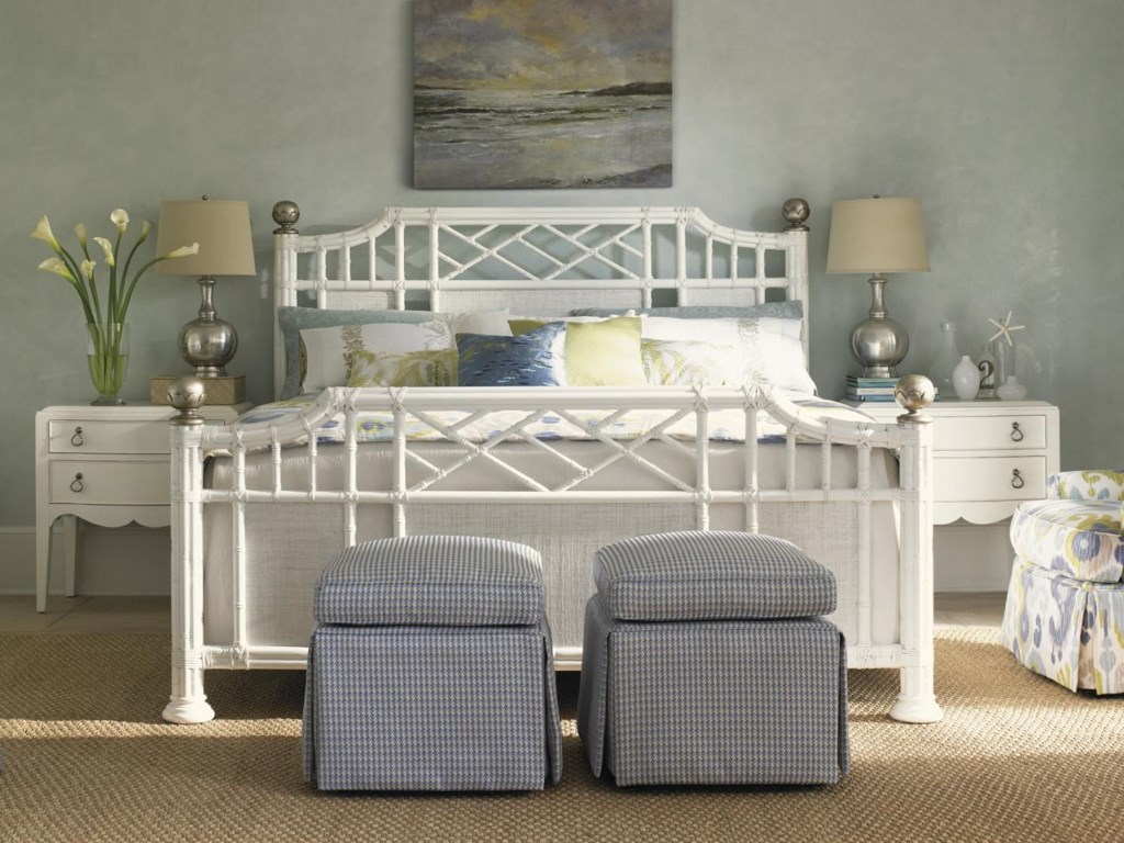 Shown with Martello Night Tables and Half Moon Caye Ottomans