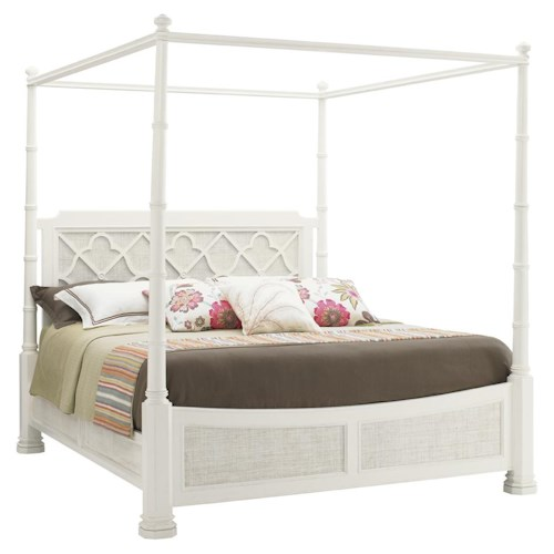 Tommy Bahama Home Ivory Key Queen Southampton Poster Bed with with Adjustable Canopy/Post Heights