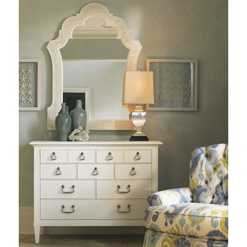 Tommy Bahama Home Ivory Key 8 Drawer Elbow Beach Dresser and Woven Raffia Sandys Mirror